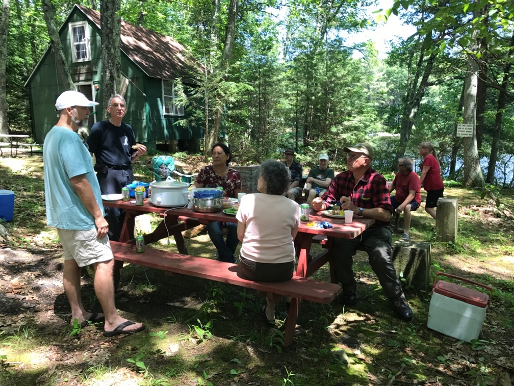 Club members enjoy the camp during the Spring 2017 Pot Luck